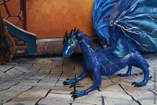 Сказочные персонажи ручной работы. Ярмарка Мастеров - ручная работа. Купить Коллекционная игрушка  Дракон летних гроз (дракон синий). Handmade.