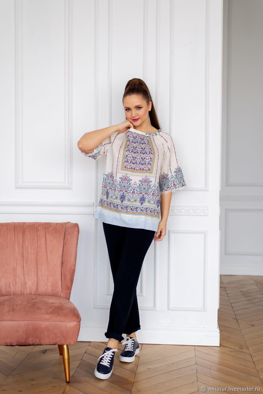 Блузка в стиле Хиппи с принтом – купить на Ярмарке Мастеров – NUFCQRU | Блузки, Новосибирск