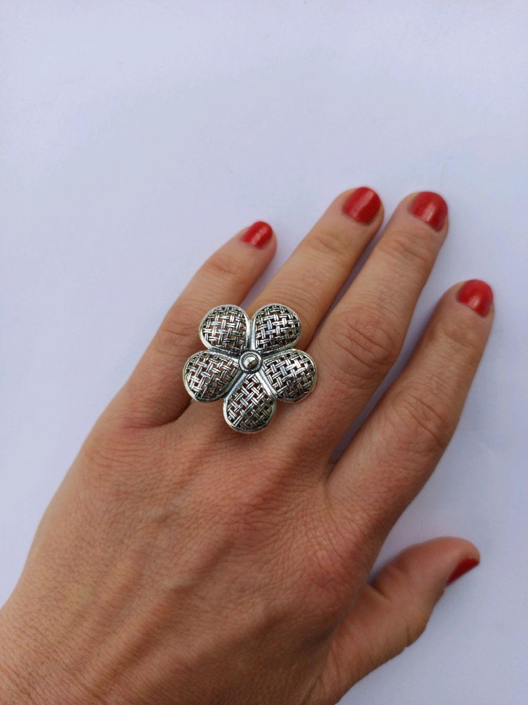 Original Braided flower ring. Silver 925 sample, Rings, Turin,  Фото №1