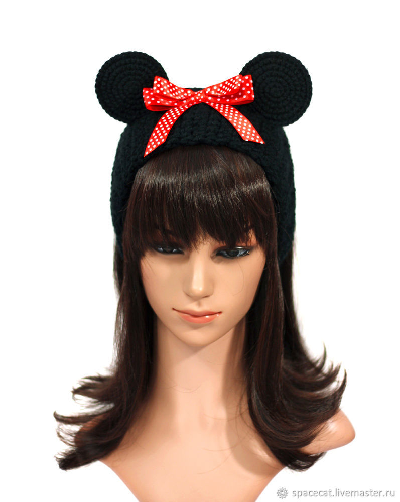 Headband with Minnie mouse ears, knitted for hair black, Bandage, Orenburg,  Фото №1