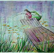 Картины и панно ручной работы. Ярмарка Мастеров - ручная работа На рыбалке. Handmade.