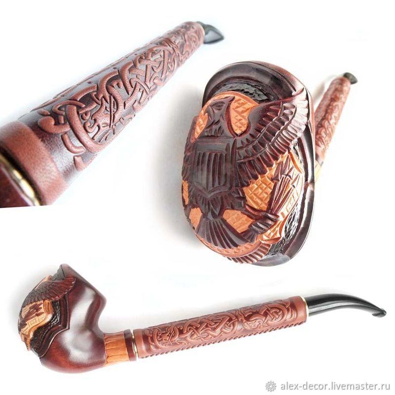 Подарки для мужчин, ручной работы. Ярмарка Мастеров - ручная работа. Купить Курительная трубка с кожей - EAGLE. Handmade. Сувениры и подарки