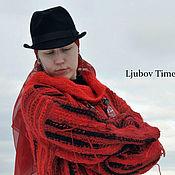 Одежда handmade. Livemaster - original item Wool Knitted Dress Loose Red Black Sweater Dress. Handmade.
