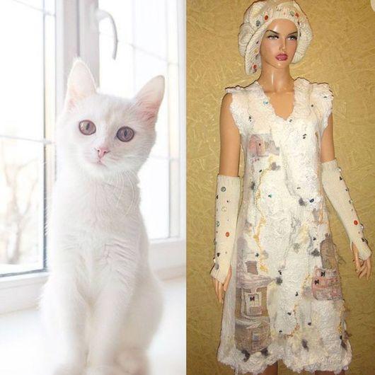 """Платья ручной работы. Ярмарка Мастеров - ручная работа. Купить Платье """"Домики на шелке""""  короткое. Handmade. Платье, нуно-войлок"""