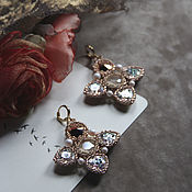 Украшения handmade. Livemaster - original item Wedding rhinestone earrings Large cross dangle earrings. Handmade.