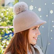 Аксессуары handmade. Livemaster - original item Zhokeyka cap with pompom. Color beige. Handmade.