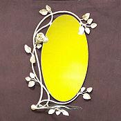 """Для дома и интерьера ручной работы. Ярмарка Мастеров - ручная работа Зеркало в кованой раме """" Роза """" со стеклянной полочкой. Handmade."""
