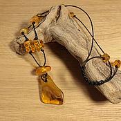 Подвеска №099915 с натуральным янтарем