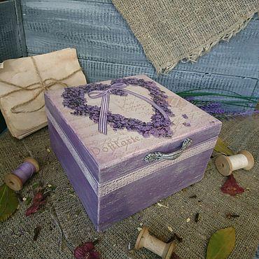 """Для дома и интерьера ручной работы. Ярмарка Мастеров - ручная работа Шкатулка, коробка """"Лавандовое сердце"""". Handmade."""