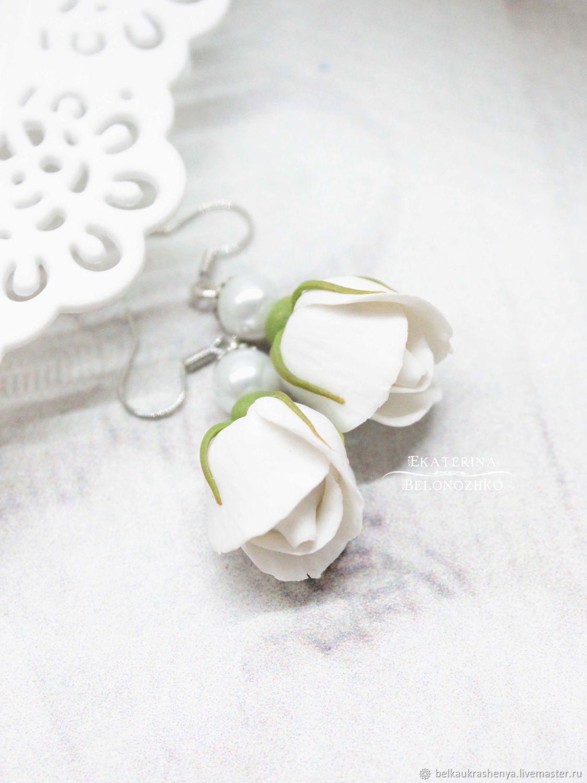 Серьги ручной работы. Ярмарка Мастеров - ручная работа. Купить Серьги Белые розы. Handmade. Весна, Снег, свидание