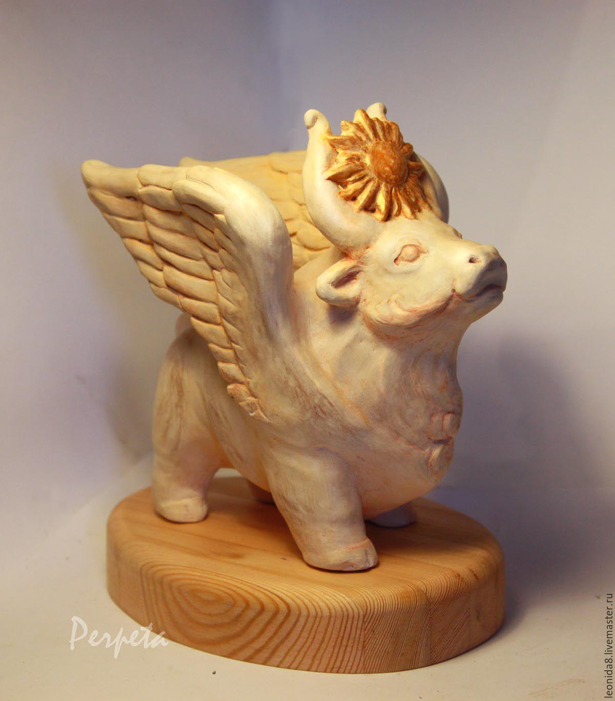 Крылатый бык. Интерьерная скульптура – заказать на Ярмарке Мастеров – 82SCPRU | Статуэтки, Москва