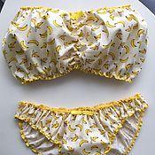"""Одежда ручной работы. Ярмарка Мастеров - ручная работа Комплект для сна """"Веселые бананы"""" (Бандо и слипы). Handmade."""