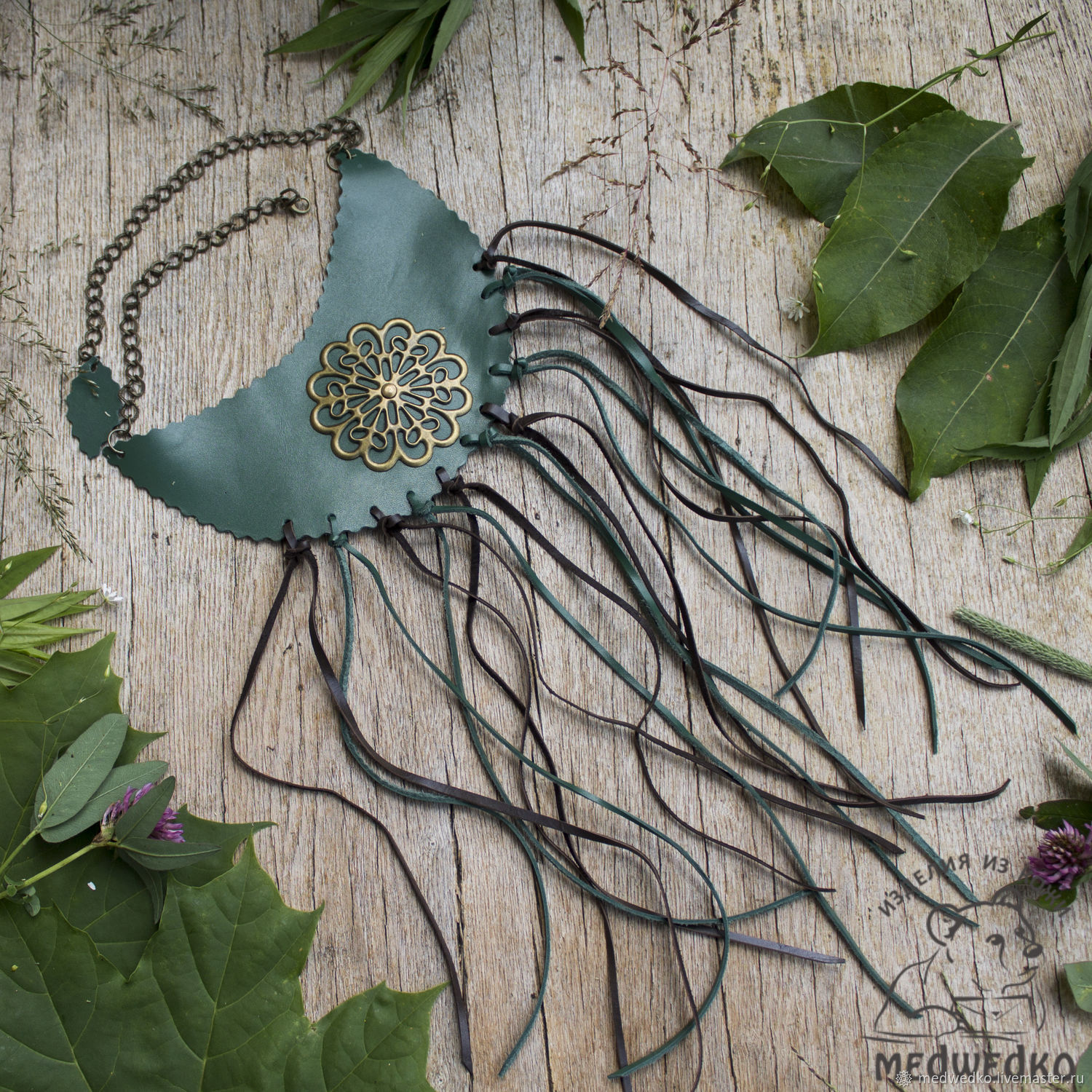 Choker leather 'Mystery forest', Necklace, Vidnoye,  Фото №1