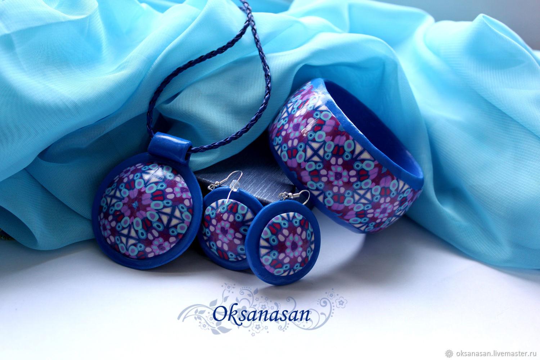 Jewelry set Earrings, bracelet, blue Kaleidoscope pendant, Jewelry Sets, Moscow,  Фото №1