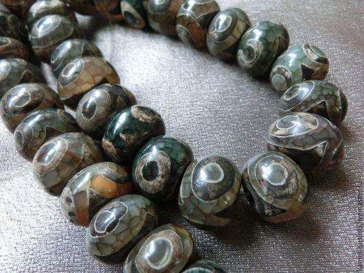 Тибетский Агат Дзи 14-15 мм бусина рондель. Бусины агата дзи для колье, агат Дзе бусины для браслетов, агат дзи бусина для серег.