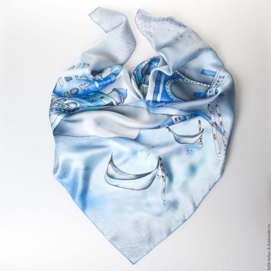 """Шали, палантины ручной работы. Ярмарка Мастеров - ручная работа. Купить Батик шелковый платок """"Венеция. Мост Риальдо"""""""". Handmade."""