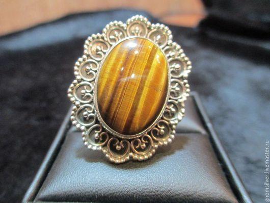Кольца ручной работы. Ярмарка Мастеров - ручная работа. Купить Уникальное авторское кольцо с тигровым глазом из Индии. Handmade. Разноцветный