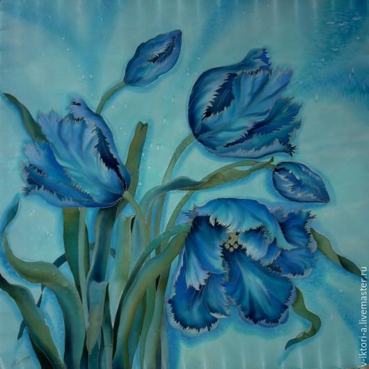 Шали, палантины ручной работы. Ярмарка Мастеров - ручная работа. Купить Синие тюльпаны на бирюзовом.(платок )90-90см.Крепдешин, 100% шелк.. Handmade.