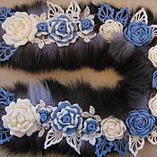 """Аксессуары ручной работы. Ярмарка Мастеров - ручная работа Вязаный шарф-палантин """"Ледяные розы"""" с мехом песца. Handmade."""