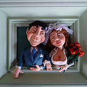 """Свадебный салон ручной работы. Ярмарка Мастеров - ручная работа Кукла авторская в раме """"Свадьба"""". Handmade."""