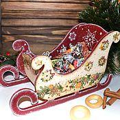 Подарки к праздникам handmade. Livemaster - original item Christmas sleigh decoupage. Handmade.