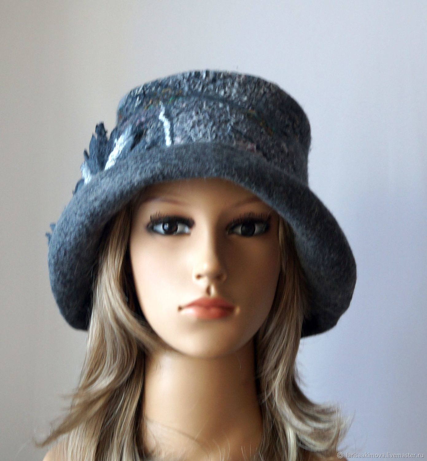 Hat gray felted Hat, light, soft textured hat with brim, Caps, Berdsk,  Фото №1