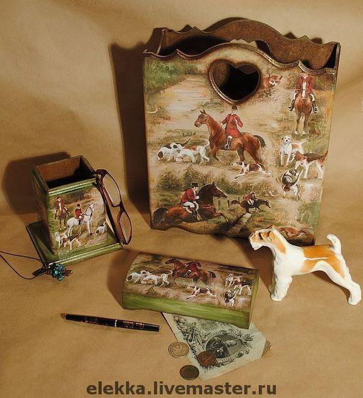 """Журнальницы ручной работы. Ярмарка Мастеров - ручная работа. Купить Письменный набор """"Псовая охота"""". Handmade. Письменный набор, лошади"""