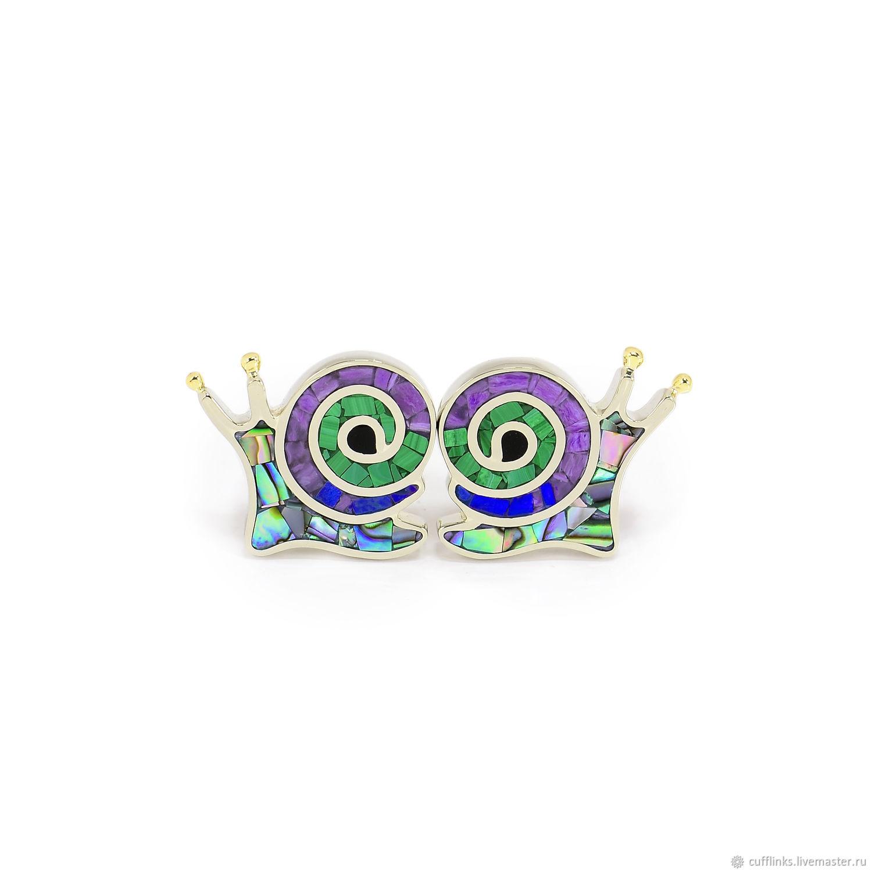 CUFFLINKS - SNAILS. Malachite, Charoite, Lapis Lazuli, Mother Of Pearl.Cufflinks custom, Cuff Links, Moscow,  Фото №1