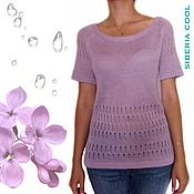 Одежда handmade. Livemaster - original item Blouse women`s dew Drops, thin, openwork, cotton, viscose, lilac. Handmade.