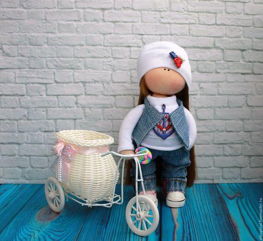 Куклы тыквоголовки ручной работы. Ярмарка Мастеров - ручная работа. Купить Интерьерная куколка Юленька. Handmade. Голубой, интерьерная игрушка