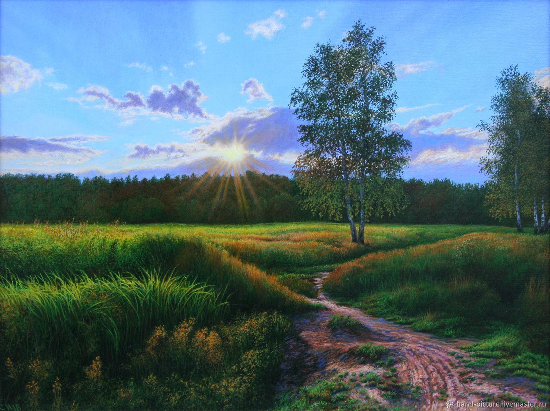 Летний пейзаж. Закат в поле 30х40, Картины, Москва, Фото №1