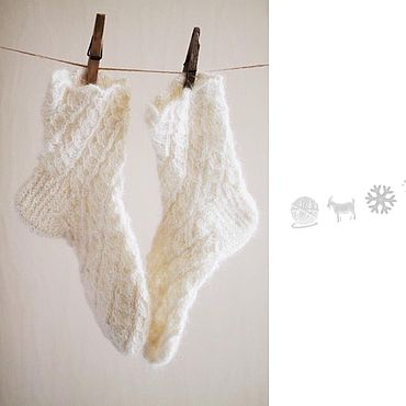 Аксессуары handmade. Livemaster - original item Knitted socks from goat down openwork. Handmade.