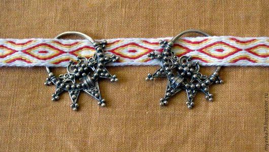 Ткачество ручной работы. Ярмарка Мастеров - ручная работа. Купить очелье с височными кольцами ткачество на дощечках. Handmade. Очелье