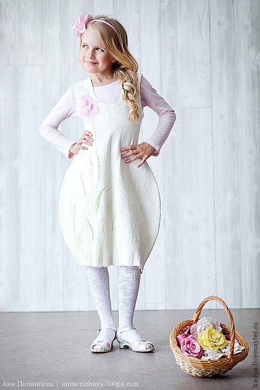 """Одежда для девочек, ручной работы. Ярмарка Мастеров - ручная работа. Купить Авторское валяное платье """"Тюльпан"""". Handmade. Белый, платье"""