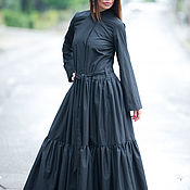Одежда handmade. Livemaster - original item Long black shirt dress - KA0195CT. Handmade.