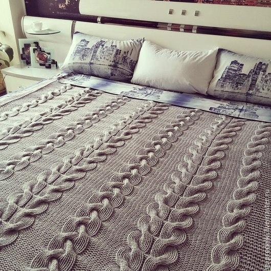 Текстиль, ковры ручной работы. Ярмарка Мастеров - ручная работа. Купить Плед крупной вязки Big Sweet. Handmade. Серый