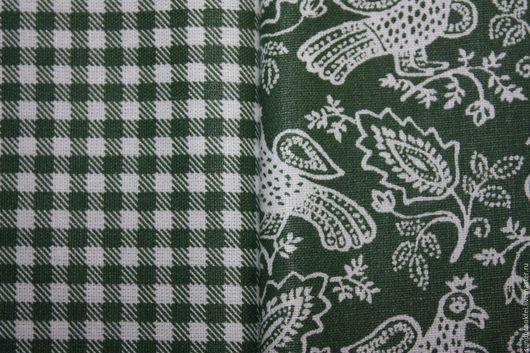 """Шитье ручной работы. Ярмарка Мастеров - ручная работа. Купить Хлопок """"Райские пташки"""". Handmade. Зеленый, купить, ткань для шитья"""