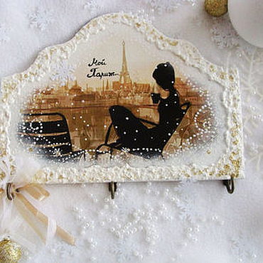 Для дома и интерьера ручной работы. Ярмарка Мастеров - ручная работа Панно-ключница-вешалка  Мой Париж. Handmade.