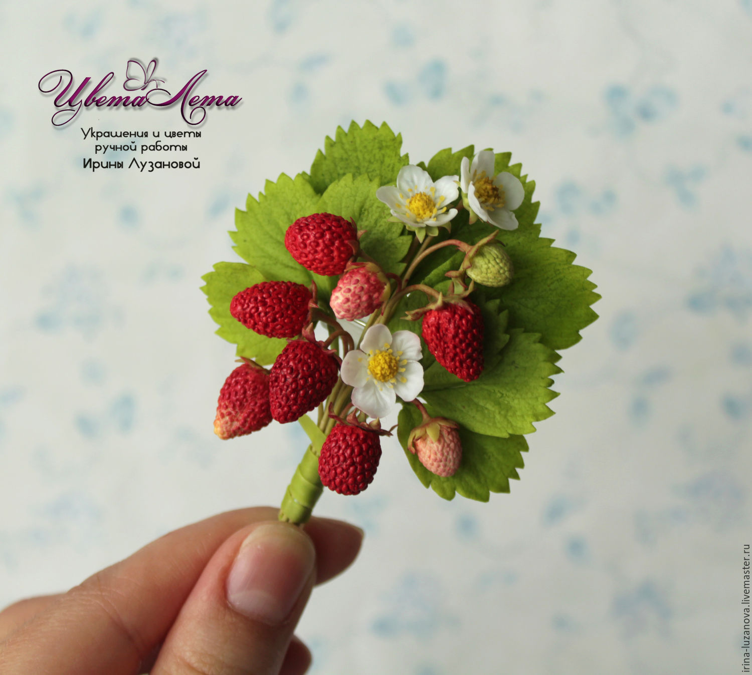 Brooch With Strawberry Polymer Clay Punky Shop Online On