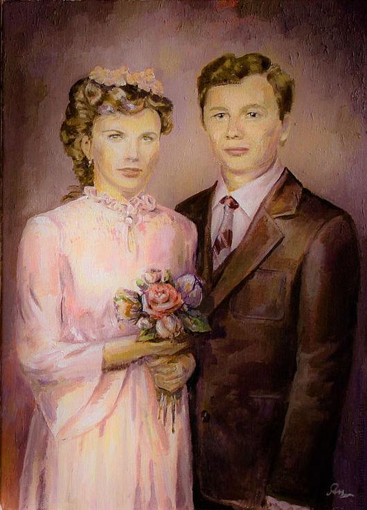 Люди, ручной работы. Ярмарка Мастеров - ручная работа. Купить Семейный портрет. Handmade. Коричневый, картина в подарок, портрет по фото