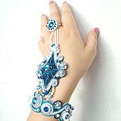 Голубой слейв браслет с кристаллами Сваровски Царица Восточных Морей