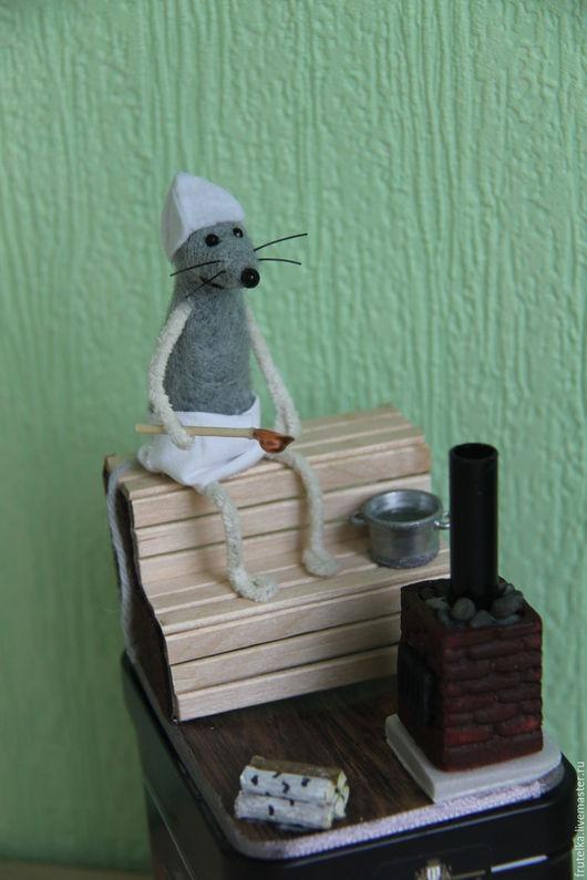 Персональные подарки ручной работы. Ярмарка Мастеров - ручная работа. Купить Мышонок в бане (декор коробки с чаем). Handmade. Разноцветный