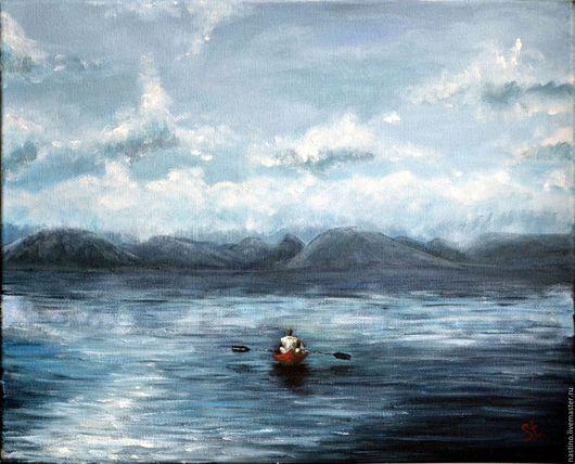Пейзаж ручной работы. Ярмарка Мастеров - ручная работа. Купить Туманное утро.. Handmade. Синий, утро, лодка, масло