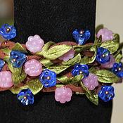 Украшения handmade. Livemaster - original item Waxed cord bracelet with leaves and flowers. Handmade.
