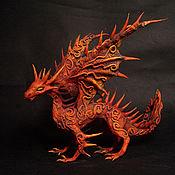 Куклы и игрушки ручной работы. Ярмарка Мастеров - ручная работа огненный дракон  фигурка дракончик красный оранжевый. Handmade.