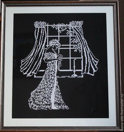 Люди, ручной работы. Ярмарка Мастеров - ручная работа. Купить дама у окна . вышитая картина.. Handmade. Чёрно-белый