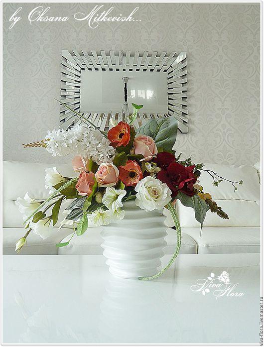 """Интерьерные композиции ручной работы. Ярмарка Мастеров - ручная работа. Купить """"Графиня"""" Интерьерный букет в керамической вазе. Handmade. эустома"""