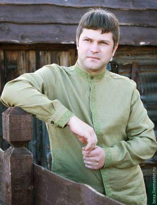 Для мужчин, ручной работы. Ярмарка Мастеров - ручная работа. Купить Сорочка мужская с воротом-стойкой и вышивкой. Handmade. Черный