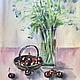 Картина акварелью - ягоды черешни и незабудки. Летний натюрморт из акварельной серии Летнее настроение будет отлично смотреться в любом интерьере, ее можно купить в подарок или внести уют в свой дом