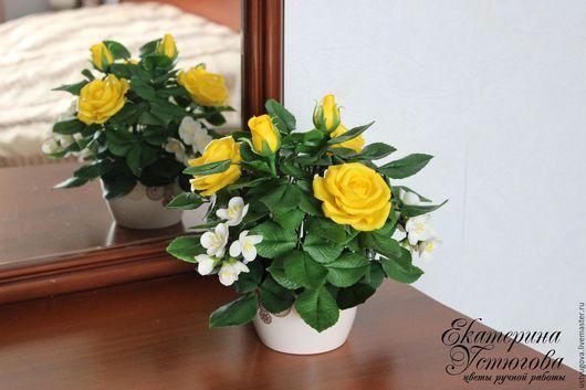 Интерьерные композиции ручной работы. Ярмарка Мастеров - ручная работа. Купить Букет с желтыми розами и жасмином из полимерной глины. Handmade.